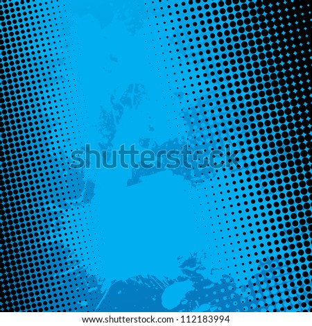 Blue paint splatter textured background with black halftone dots. - stock photo