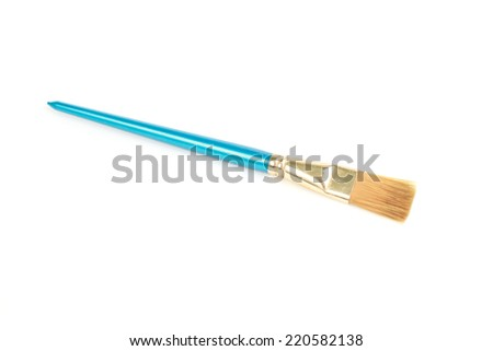 Blue paintbrush isolated on white background