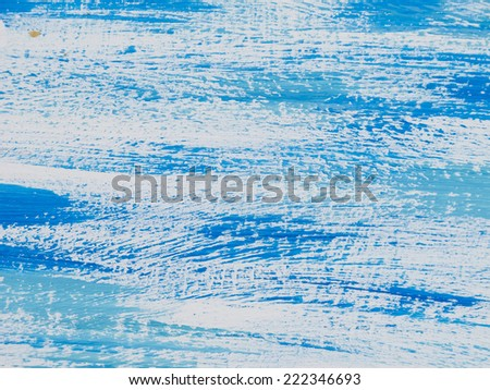 Blue painted abstract, with white streaks, reminiscent of seas or skies.