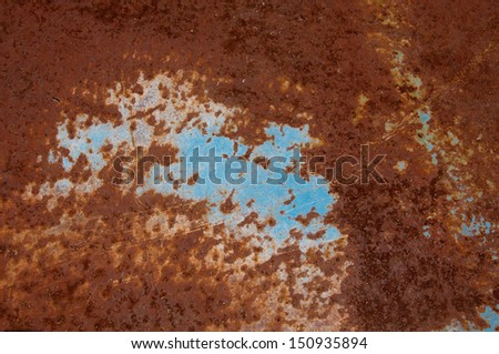 Blue painted metal is very rusty. - stock photo
