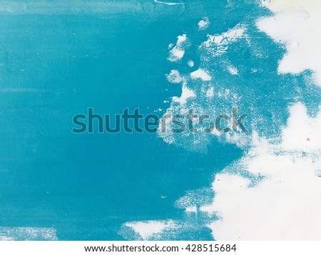 Blue painted on white wall, abstract texture background. - stock photo