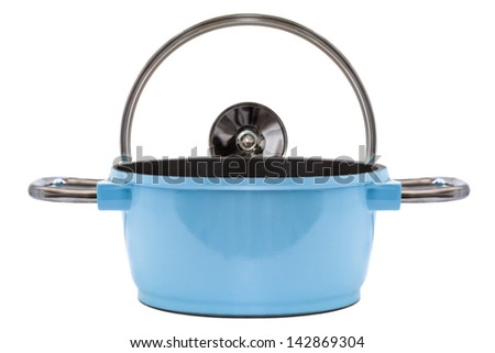 Blue Pan and cooking top isolated on white - stock photo
