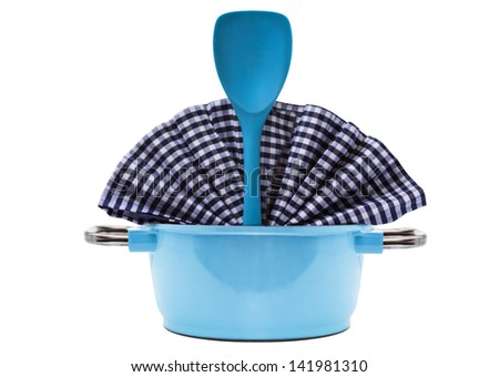 Blue Pan and Kitchen Utensil isolated on white - stock photo