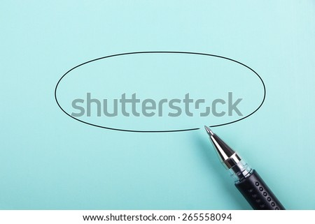 Blue paper background is for your edit with black ball-point pen. - stock photo