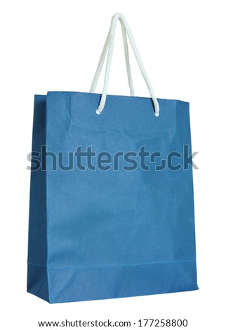 Blue paper bag isolated on white with clipping path - stock photo