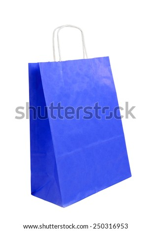 blue paper bag on the white background