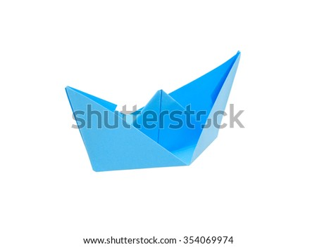 Blue paper boat isolated on white background with clipping path