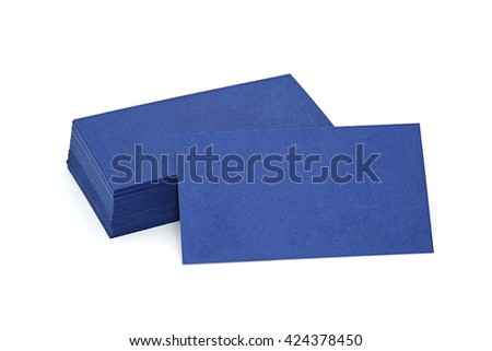 blue paper business cards, 5x9cm, isolated on white background
