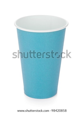Blue paper coffee cup. Isolated on white background - stock photo