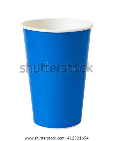 blue paper cup isolated on white