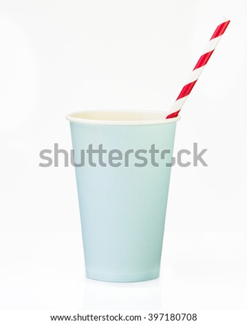 Blue  Paper Cup with straw close up