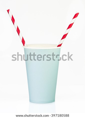 Blue  Paper Cup with straws close up