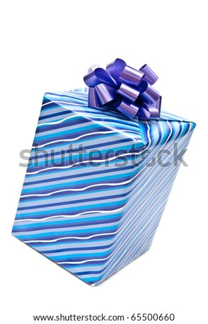 Blue paper gift box with bow. Isolated on white