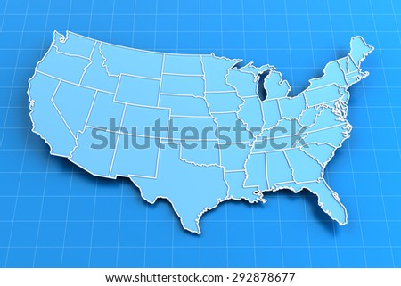 Blue paper map of USA with state borders, 3d render