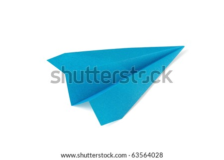 Blue paper plane on white background