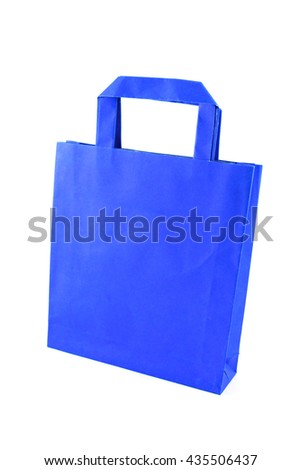 blue paper shopping bag isolated on white background