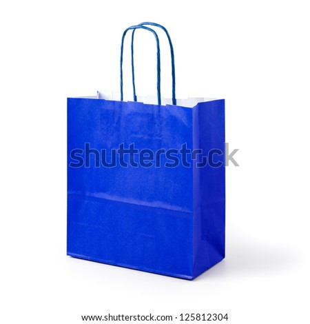 Blue paper shopping bag on white background clipping path included