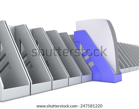 Blue paper tray stands out among the gray paper trays. 3d render illustration