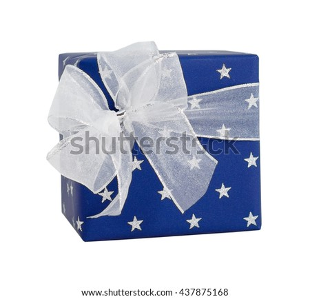 Blue paper wrap silver stars white ribbon bow gift box present christmas birthday isolated - stock photo