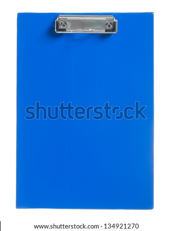 blue paperclip isolated - stock photo