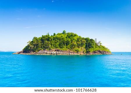 Blue Paradise Rock Island - stock photo