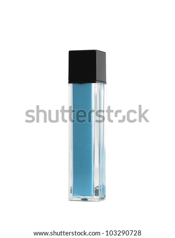 Blue parfume bottle - stock photo