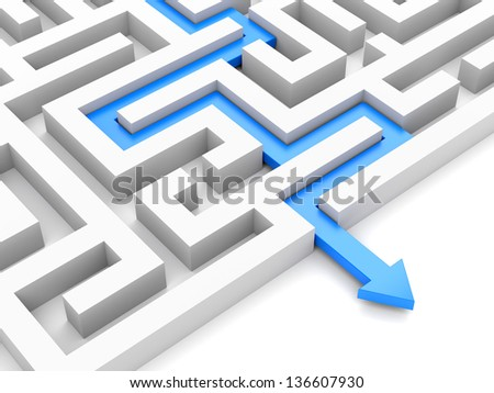 Blue path with arrow across labyrinth isolated on white - stock photo