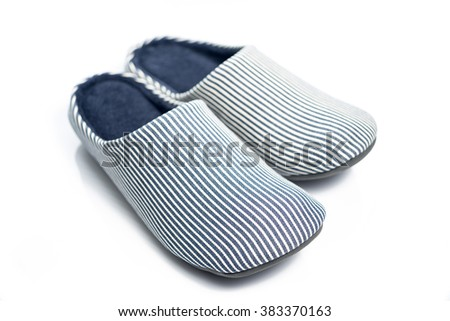 Blue Pattern Home Shoes on White background