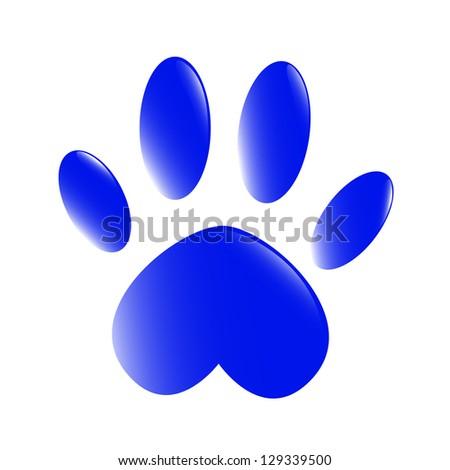 Blue paw - stock photo