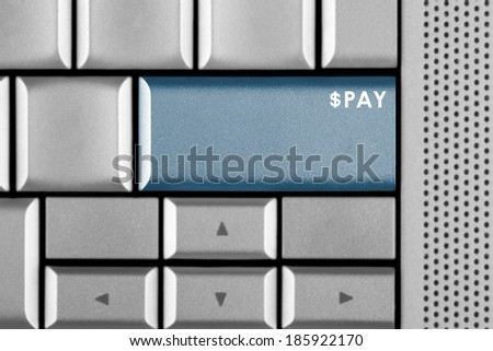 Blue PAY key on a computer keyboard with clipping path around the PAY key - stock photo