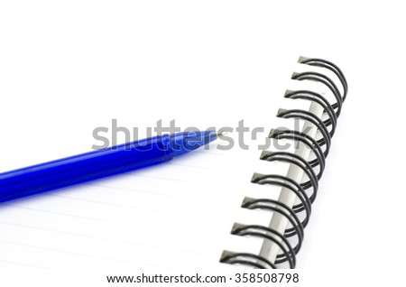 blue pen with notebook isolated on white background - stock photo