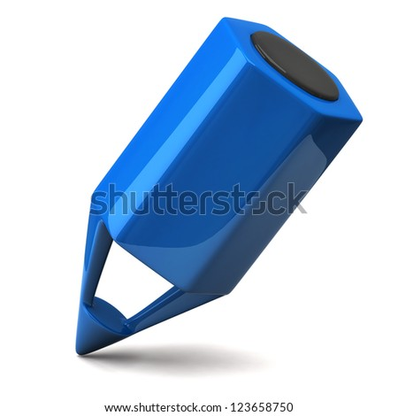 Blue pencil icon - stock photo