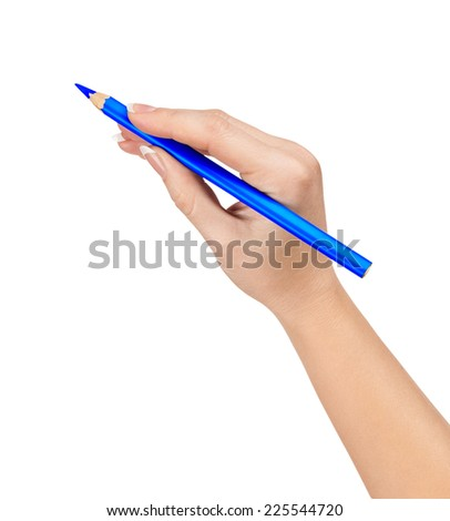 Blue pencil in hand isolated on white background