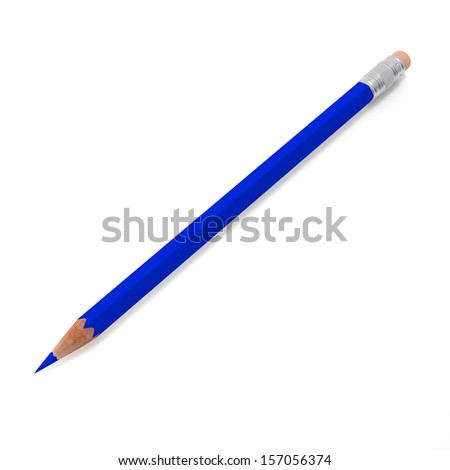 blue pencil on a white background isolated