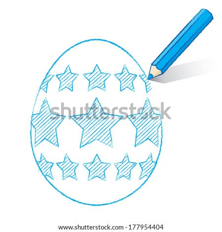 Blue Pencil with Shadow Drawing Easter Egg plus Stars on White Background - Raster