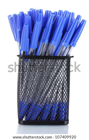 blue pens in metal cup isolated on white - stock photo