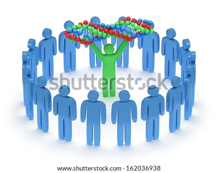Blue people in circle around green man with DNA chain. 3D render. Teamwork, business, praise, partnership, medicine.