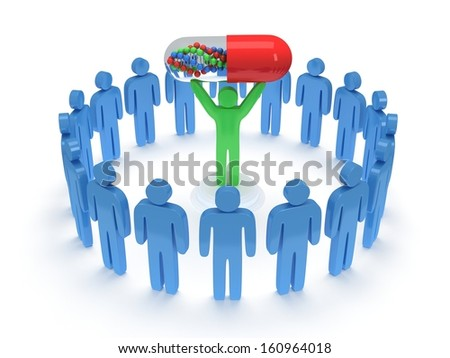 Blue people in circle around green man with pill DNA chain within. 3D render. Teamwork, business, praise, partnership, pills, medicine.