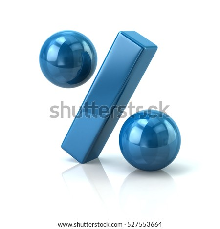 Blue percent icon 3d rendering on white background
