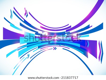 Blue perspective bow lines abstract background