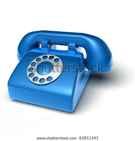 blue phone on white background - 3D render bitmap