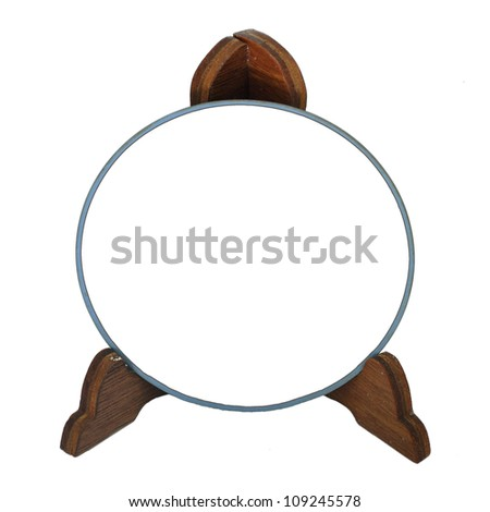 Blue photo frame with wood stand isolated white background - stock photo