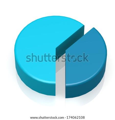 Blue pie chart - stock photo
