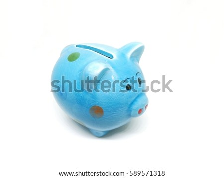 Blue pig piggy bank on white background
