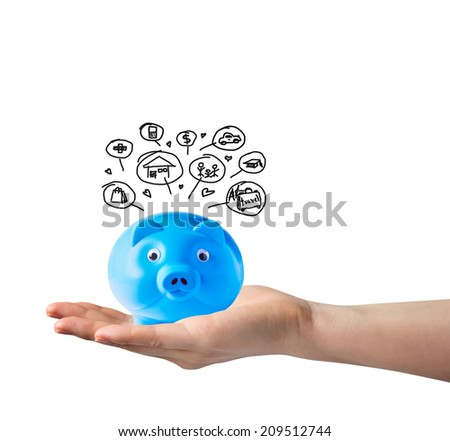 Blue piggy bank and icons design to represent the concept of saving on hand - stock photo