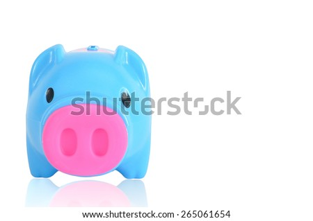 Blue piggy bank isolated on white background, clipping path included. - stock photo