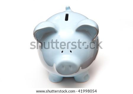Blue piggy bank money box isolated on a white studio background. - stock photo
