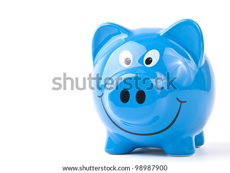 Blue piggy bank. On a white background. - stock photo