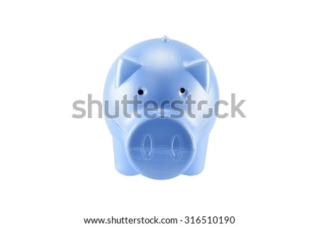 blue piggy bank on white background with clipping paths - stock photo