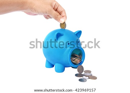 Blue Piggy bank with coins and credit card isolate on white background